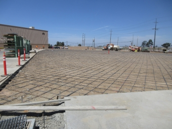 Rebar under concrete parking area